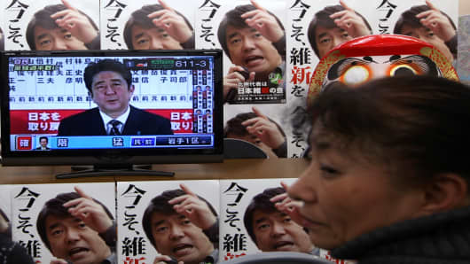 Japan's main opposition Liberal Democratic Party (LDP) President Shinzo Abe holds a TV interview after the party won parliamentary elections on December 16, 2012.